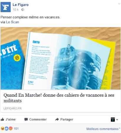 Le cahier parodiqeu sur la vignette de partage de l'article du Figaro sur Facebook
