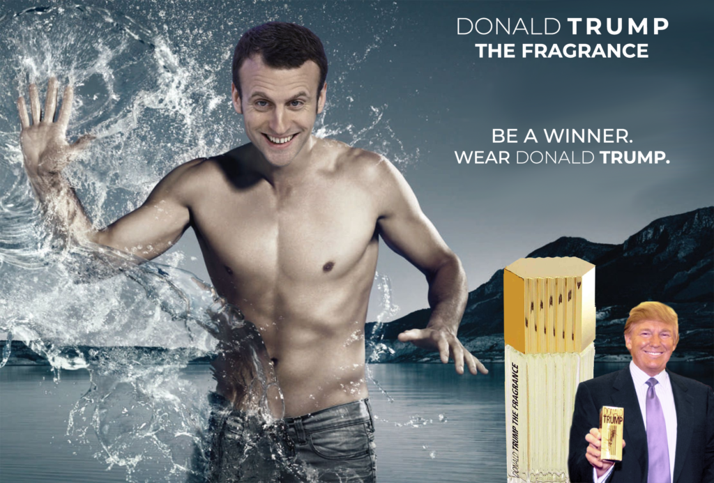 Affiche pub parfum Donald Trump - Macron égérie